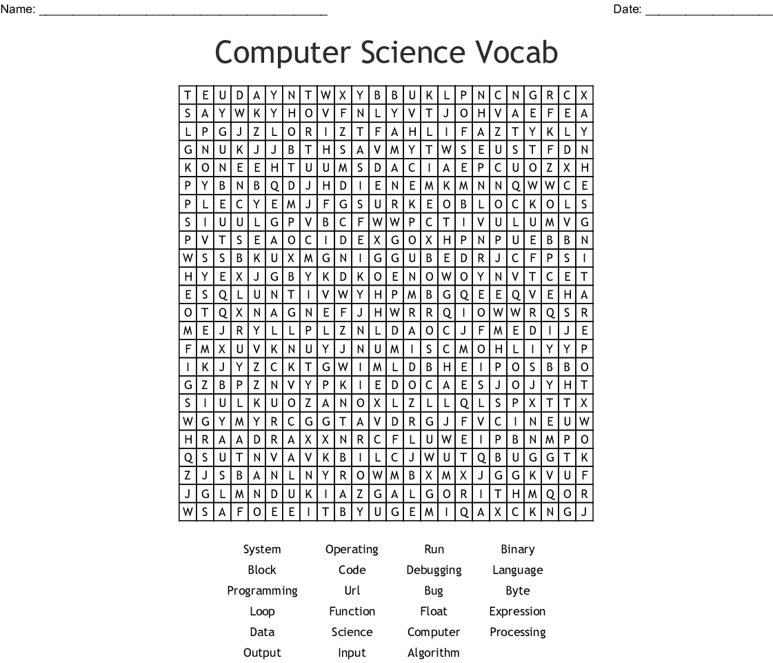 Computer Science Word Search! - WordMint