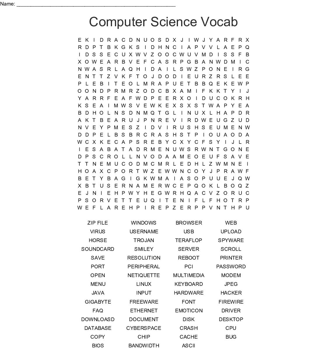 Computer Science Vocab Word Search - WordMint