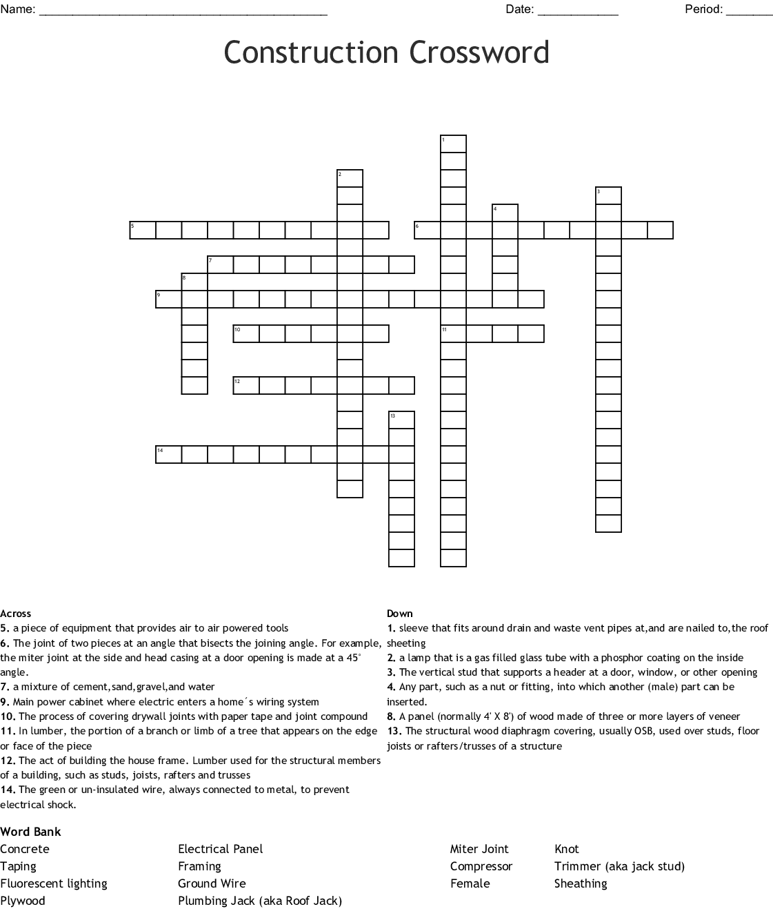 Construction Word Search Wordmint