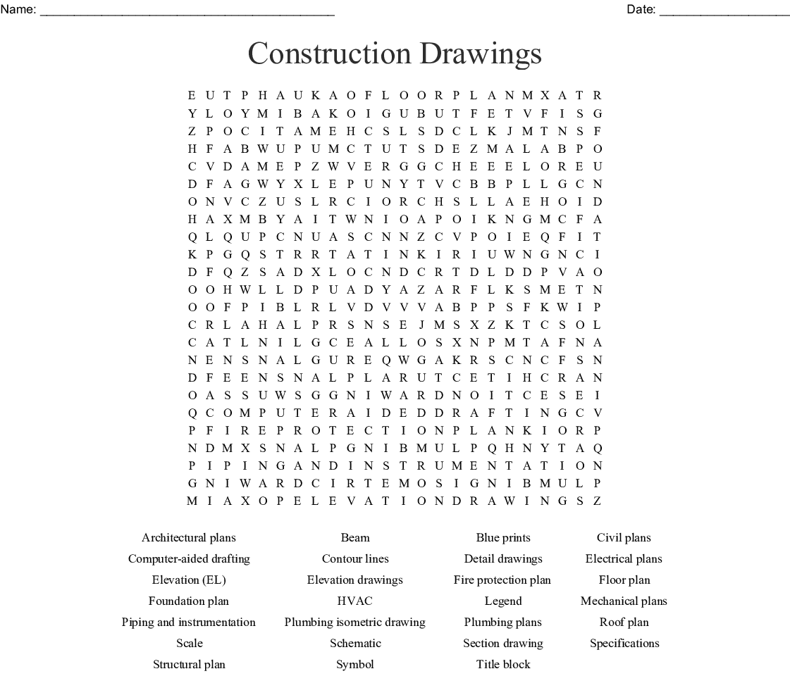Construction Drawings Word Search - WordMint