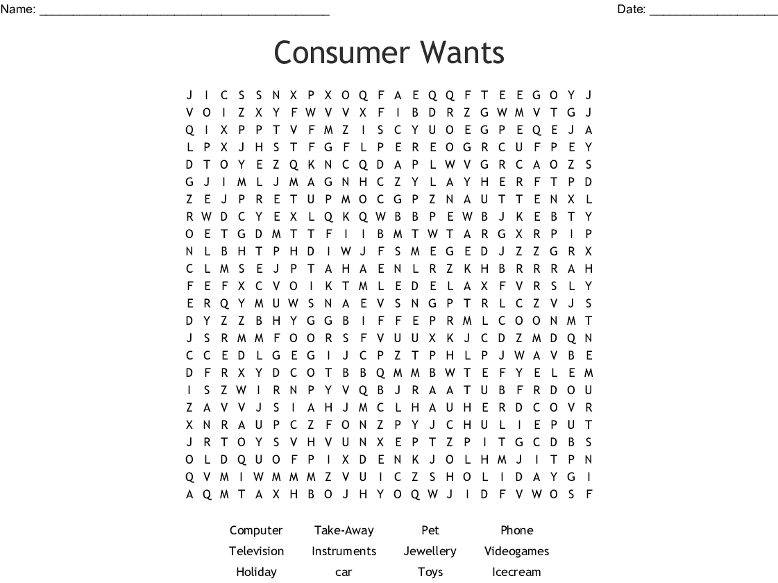 Consumer Wants Word Search Wordmint