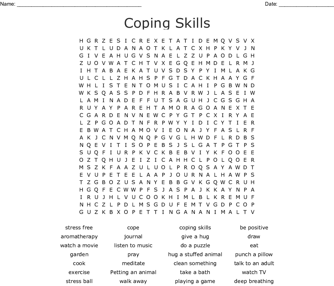 graphic relating to Music Word Search Printable identified as Coping Expertise Phrase Seem - WordMint