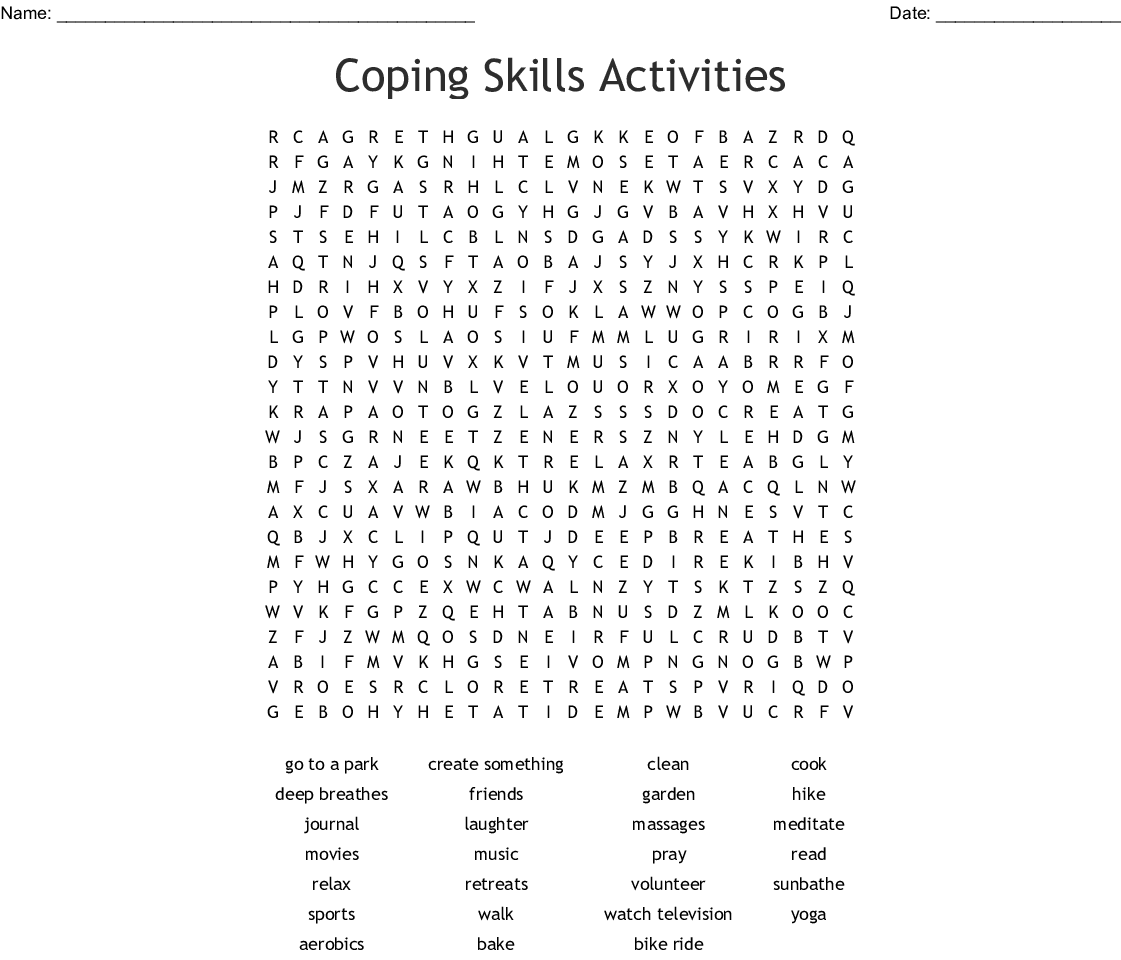 POSITIVE COPING SKILLS Word Search - WordMint