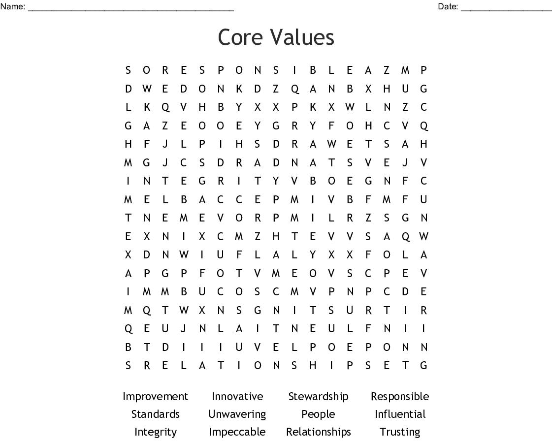 Core Values Crossword Wordmint