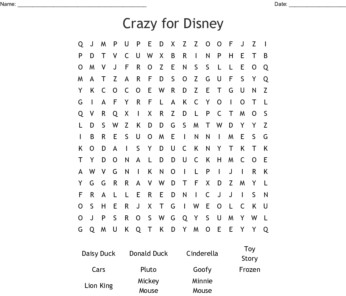 graphic about Frozen Word Searches known as Mad for Disney Term Glance - WordMint