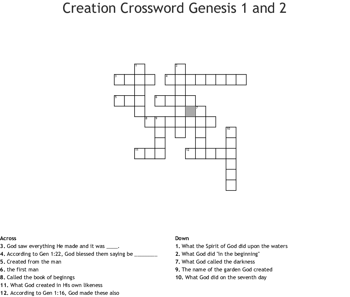 image relating to Bible Crossword Puzzles Printable With Answers titled Output Crossword Genesis 1 and 2 - WordMint