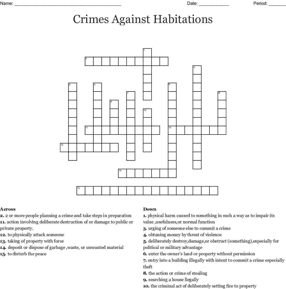 Workplace Violence Crossword Wordmint
