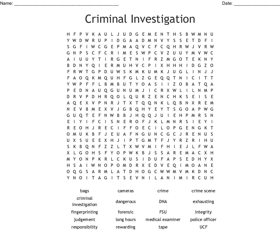 Criminal Investigation Word Search - WordMint