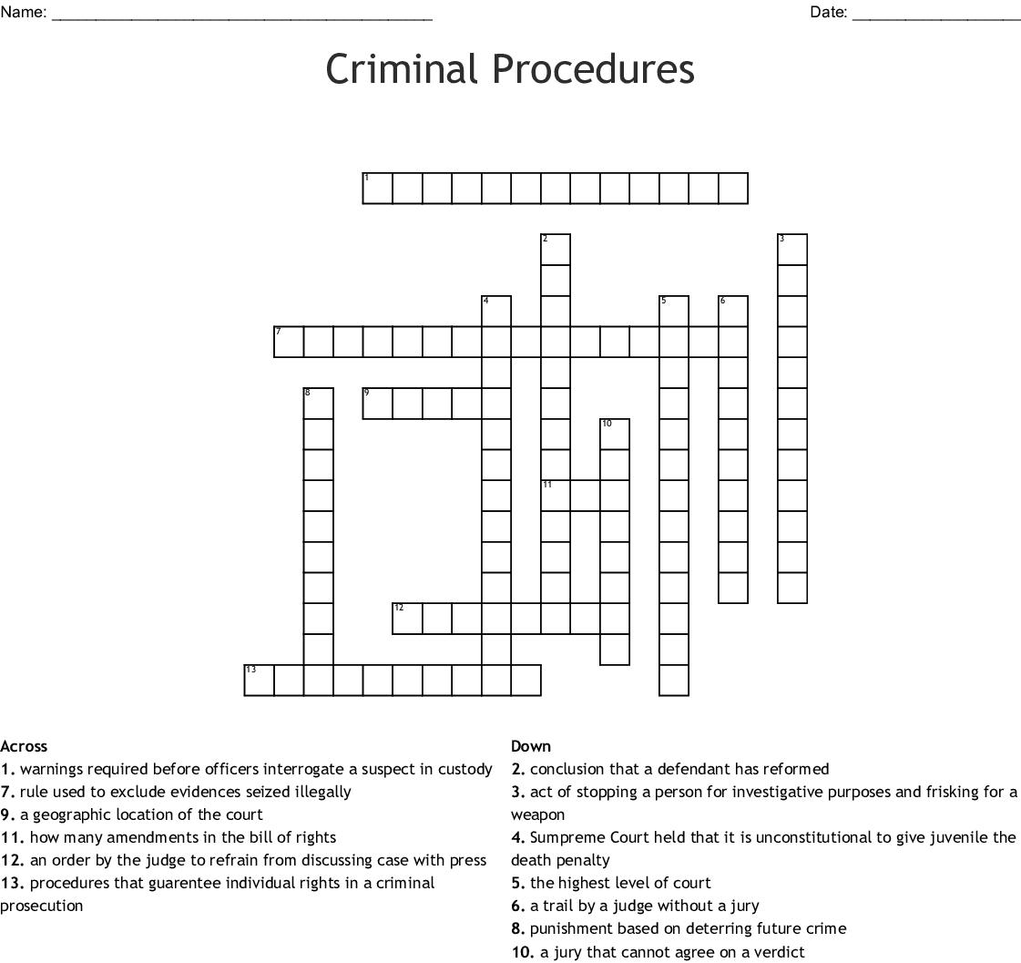 Criminal Procedures Crossword Wordmint