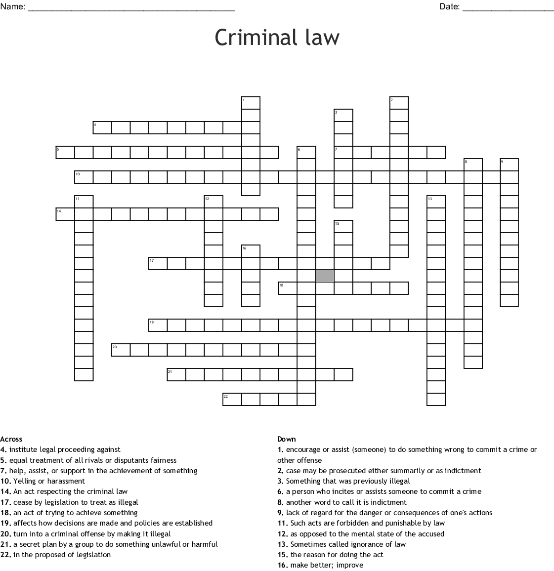 Criminal Law Crossword Wordmint