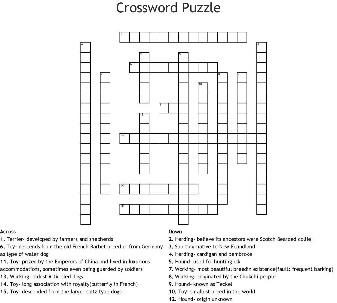Dog Breed Crossword Puzzle