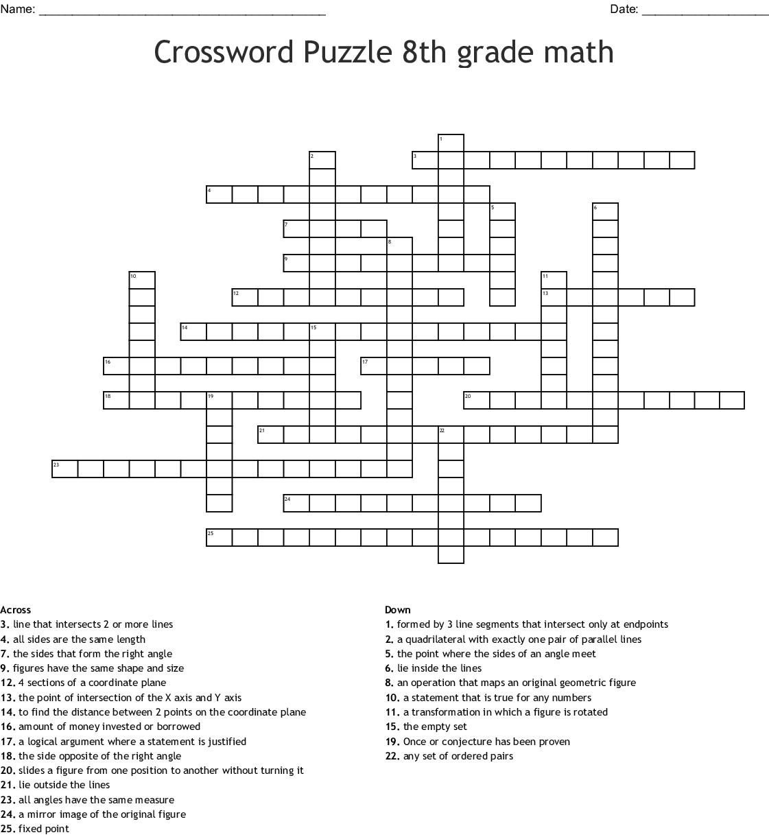 Coordinate Geometry Crossword Wordmint