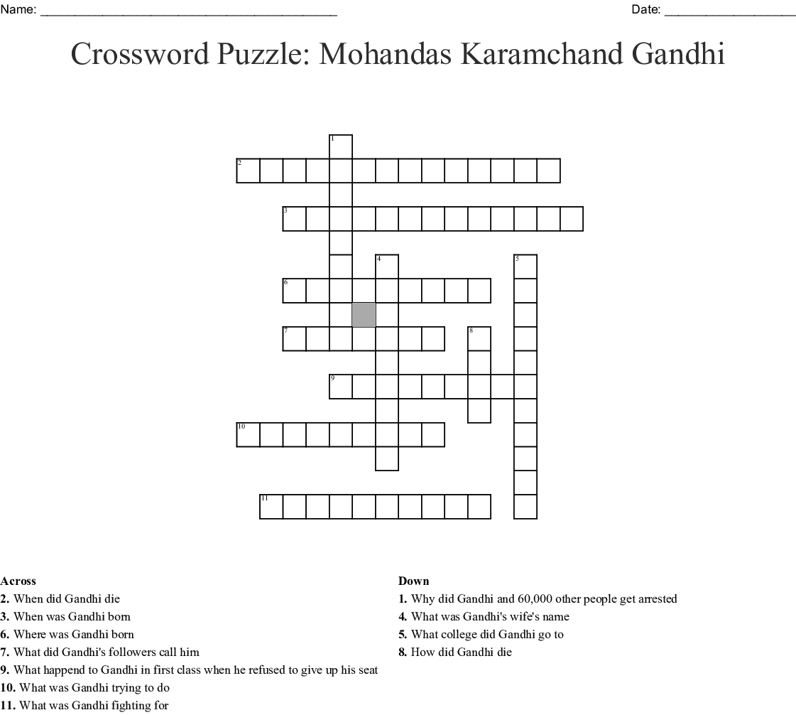 photo regarding Thomas Joseph Printable Crosswords named Mahatma Gandhi Crossword - WordMint