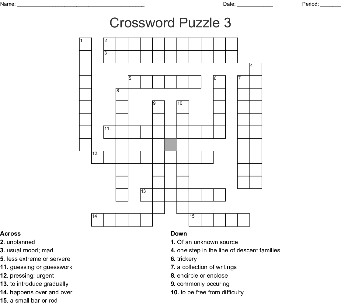 Wordly Wise Vocabulary Book 8 Lesson 3 Crossword Wordmint