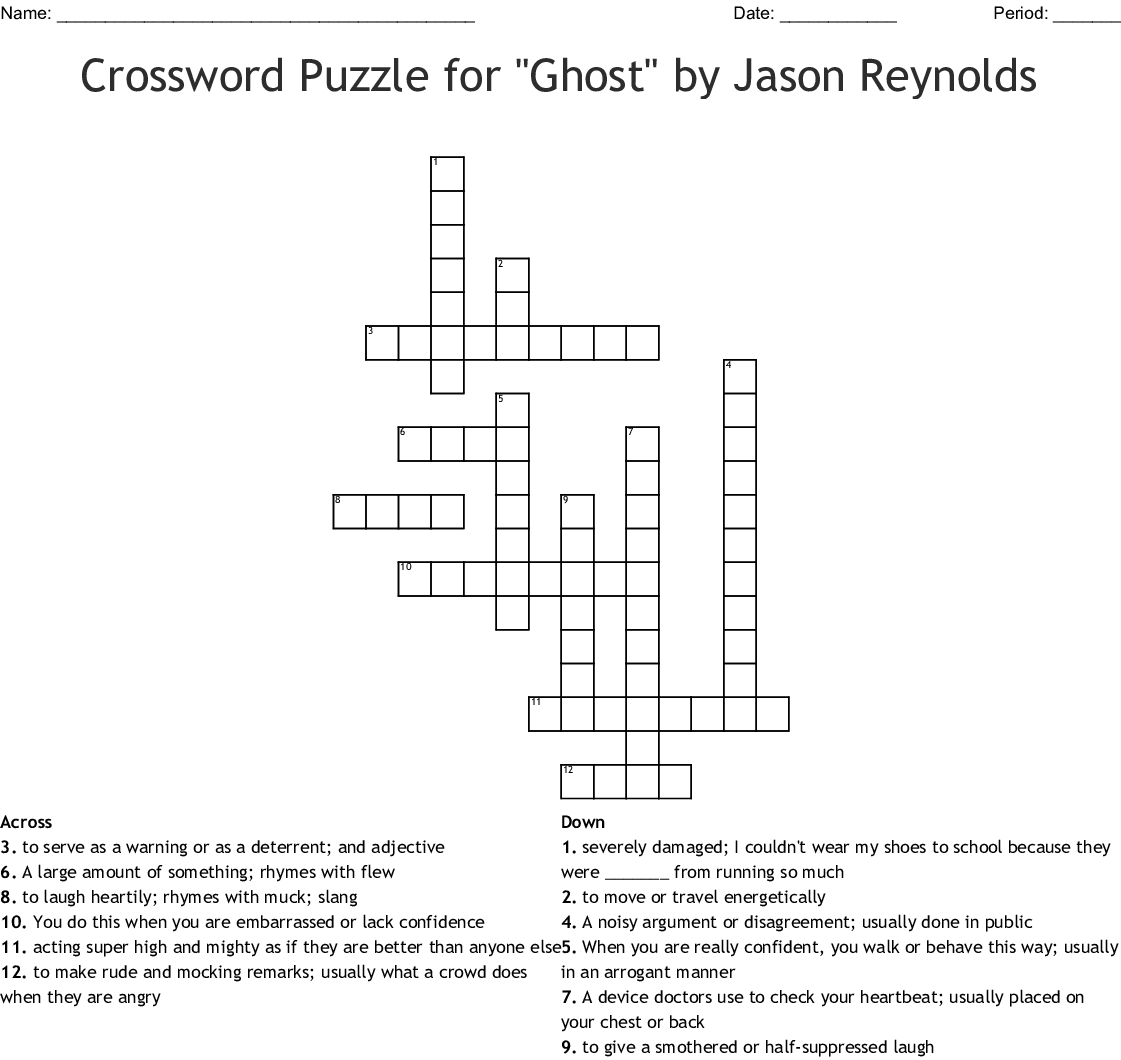 Crossword Puzzle For Ghost By Jason Reynolds Wordmint
