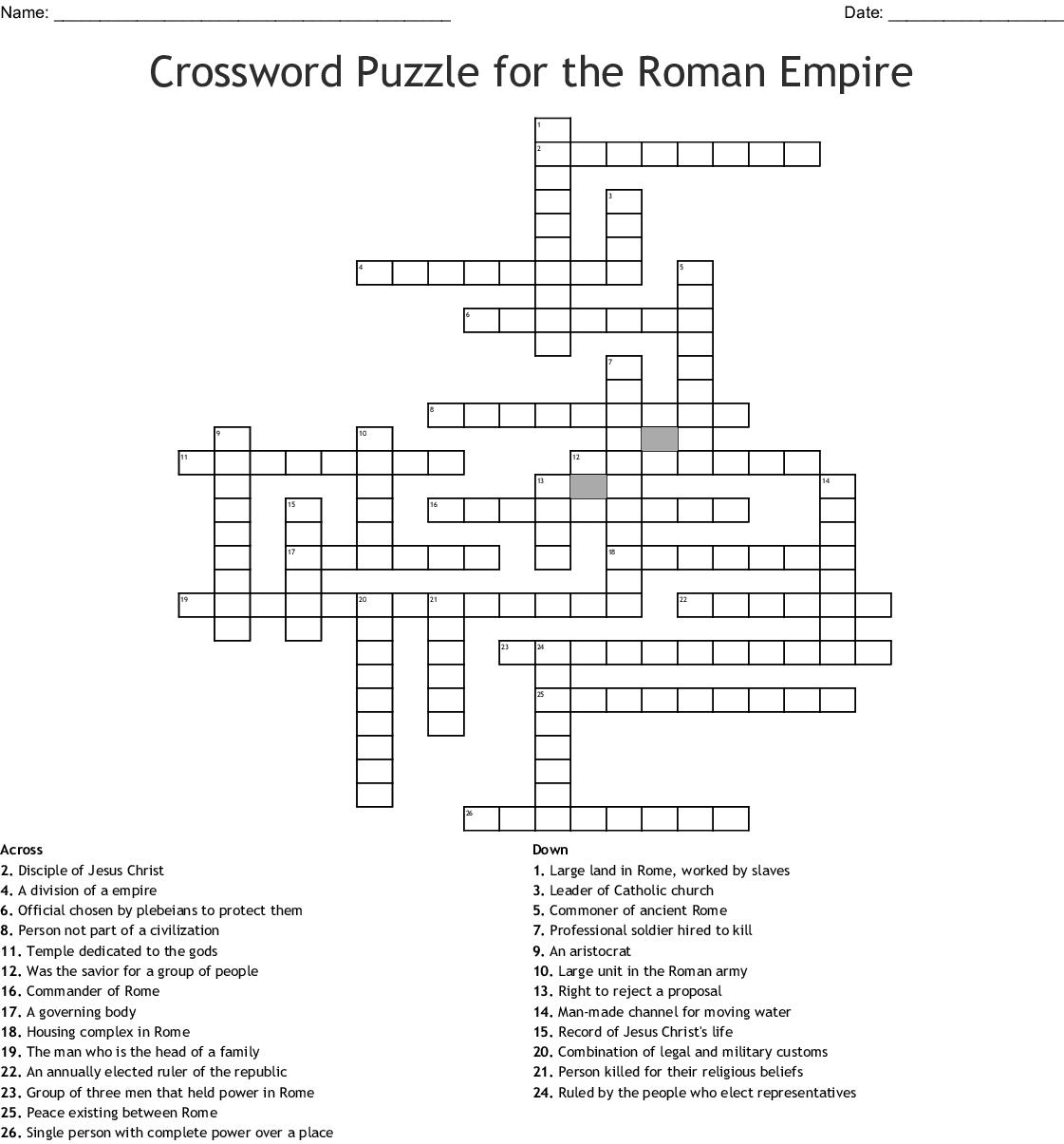 Crossword Puzzle for the Roman Empire - WordMint