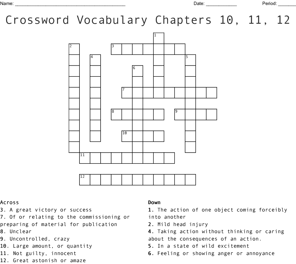 The Outsiders Vocab Chapter 10 11 And 12 Crossword Wordmint