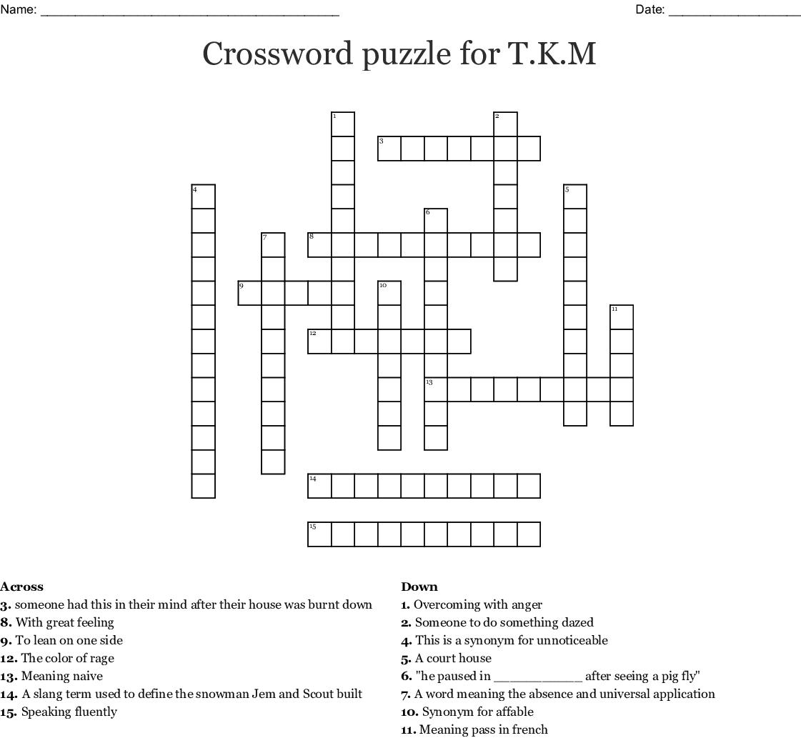 Crossword puzzle for T K M - WordMint