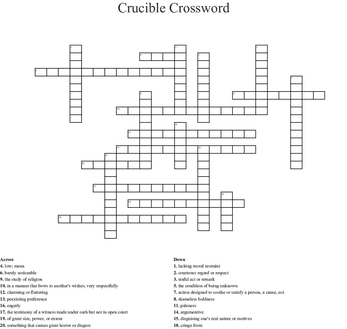 The Crucible Crossword Wordmint