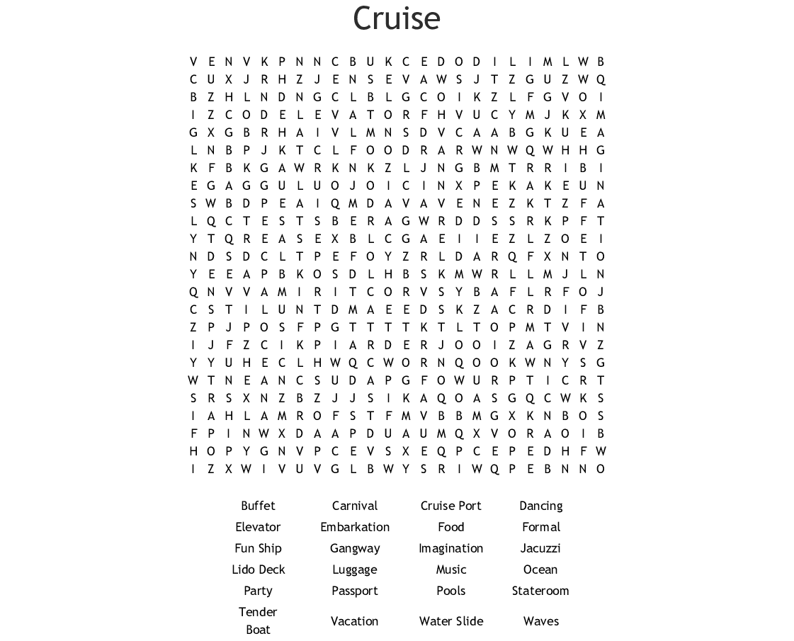 Cruises & Charters Crosswords, Word Searches, Bingo Cards ...