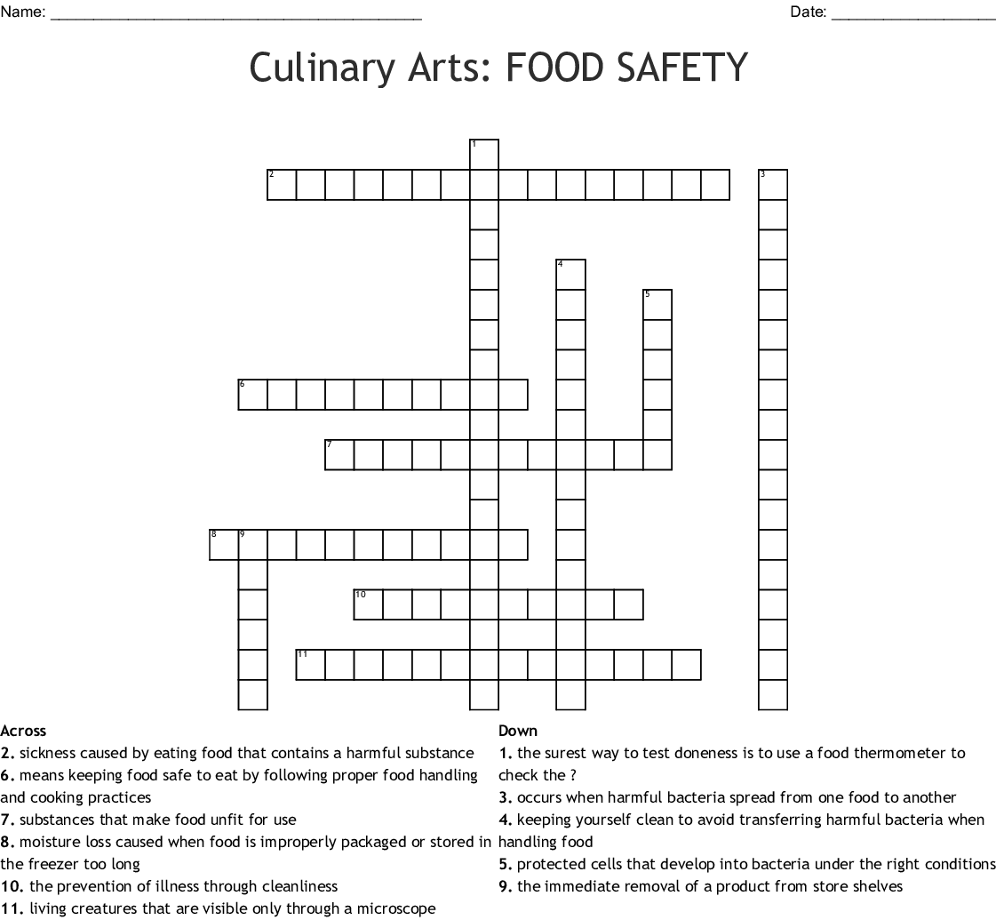 Food Safety and Sanitation Crossword - WordMint