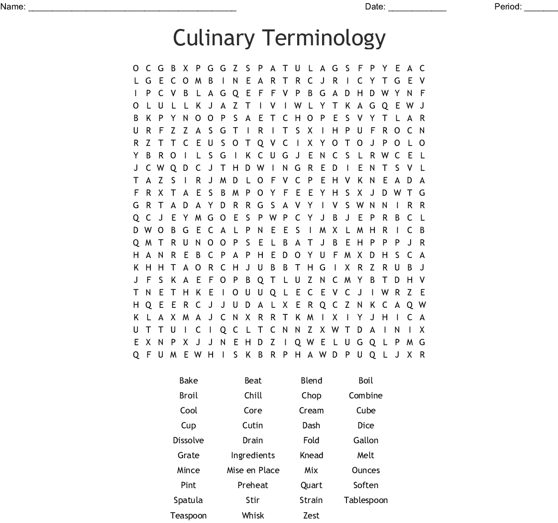 Culinary Arts Word Search Wordmint