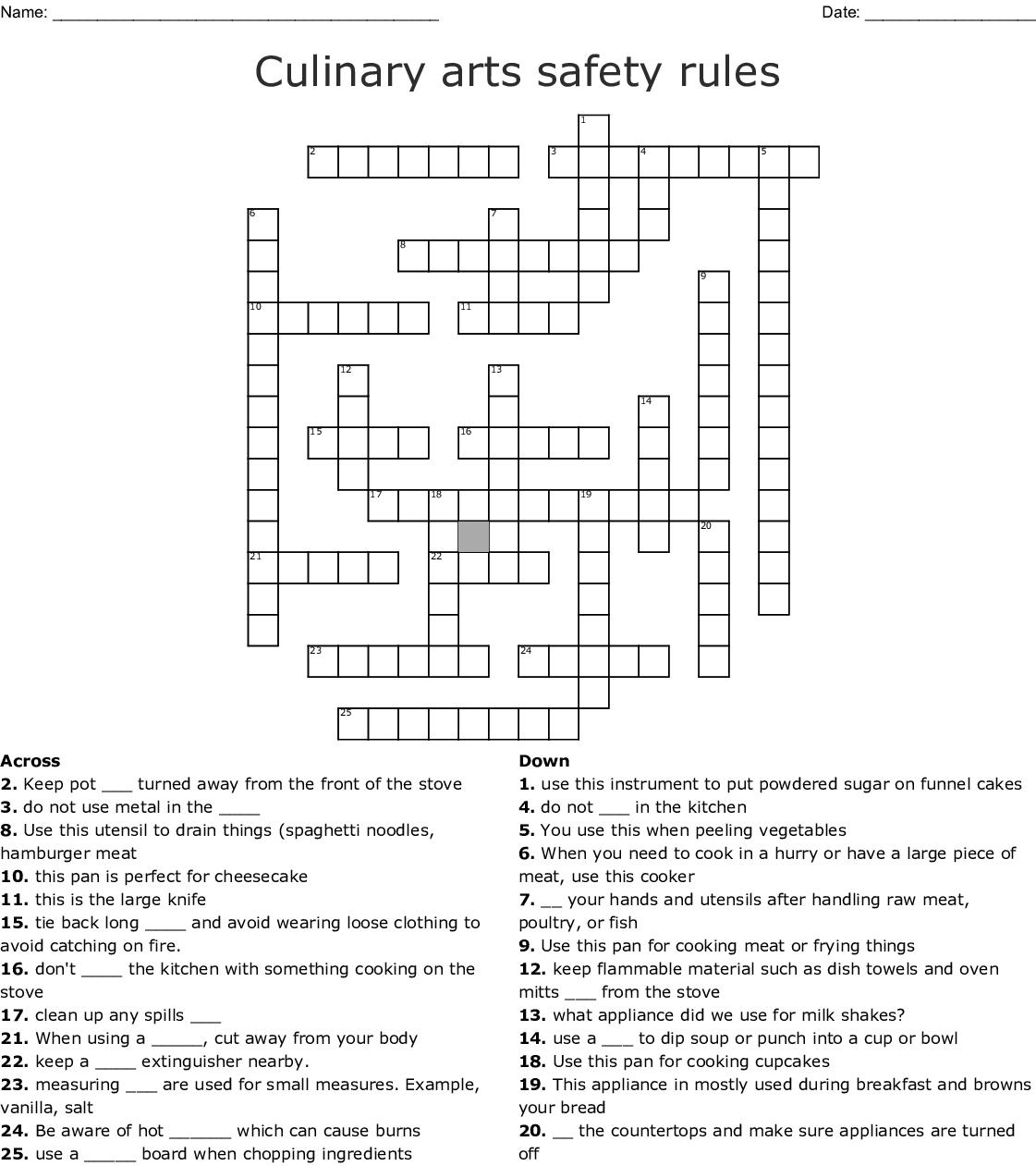 Kitchen Safety Crossword - WordMint