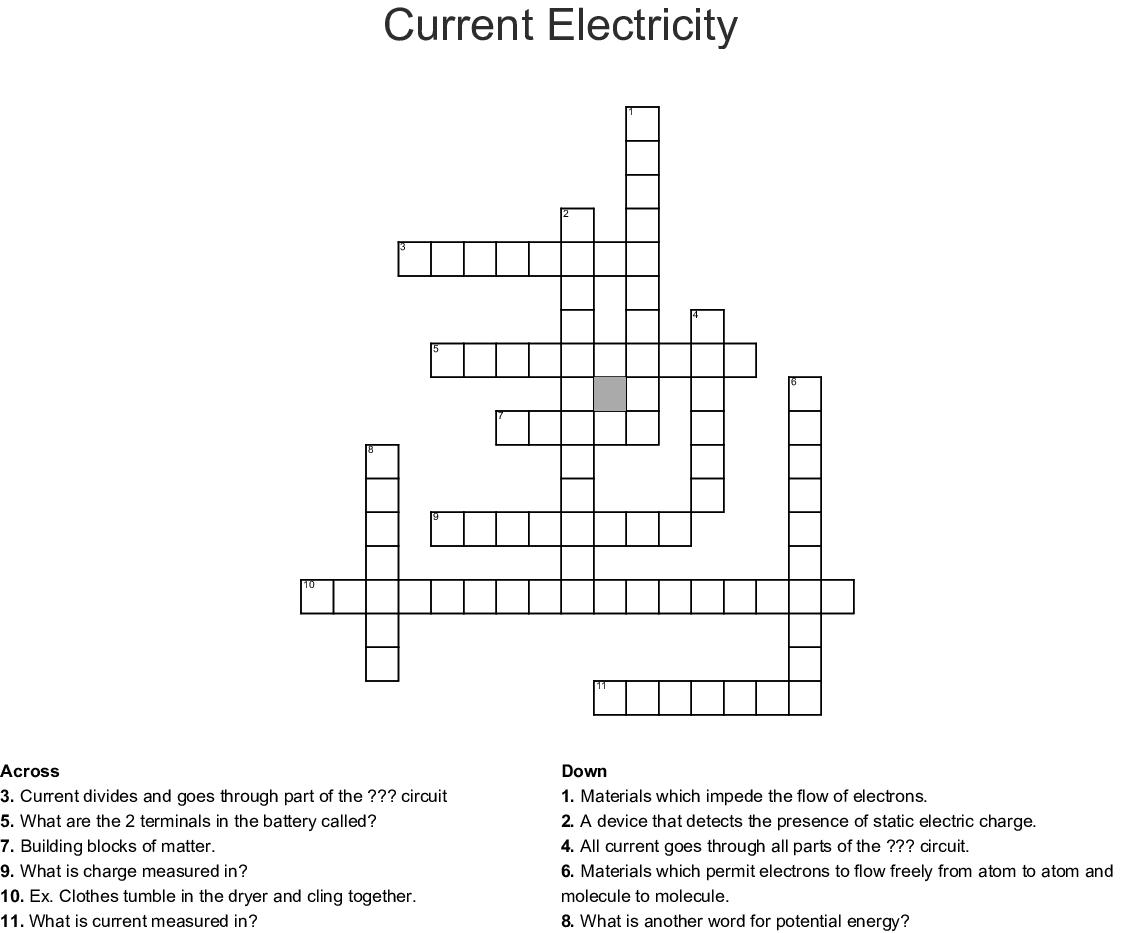 Current Electricity Crossword Wordmint