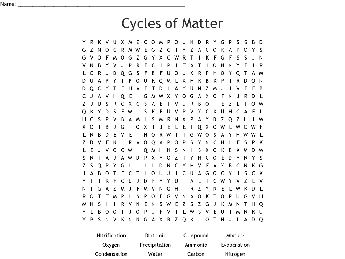 Cycles of Matter Word Search - WordMint