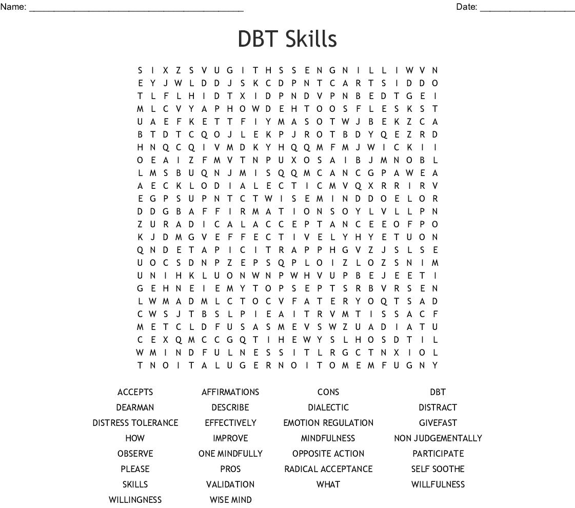 DBT Skills Word Search - WordMint