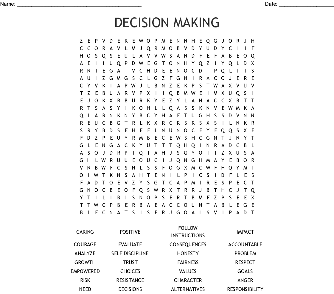 Decision Making Word Search Wordmint