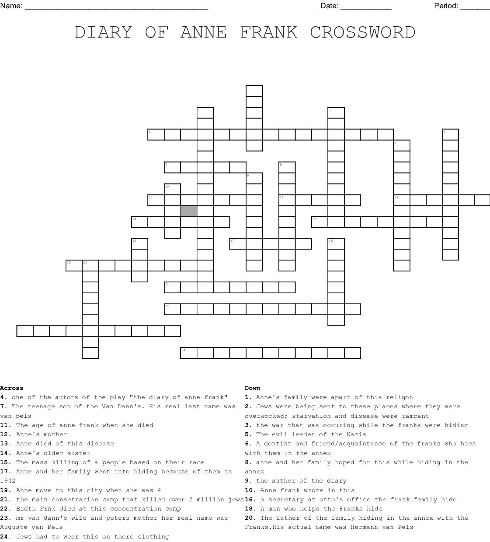 Anne Frank Crossword - WordMint