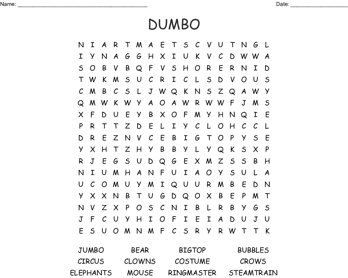 Dumbo Word Search - WordMint