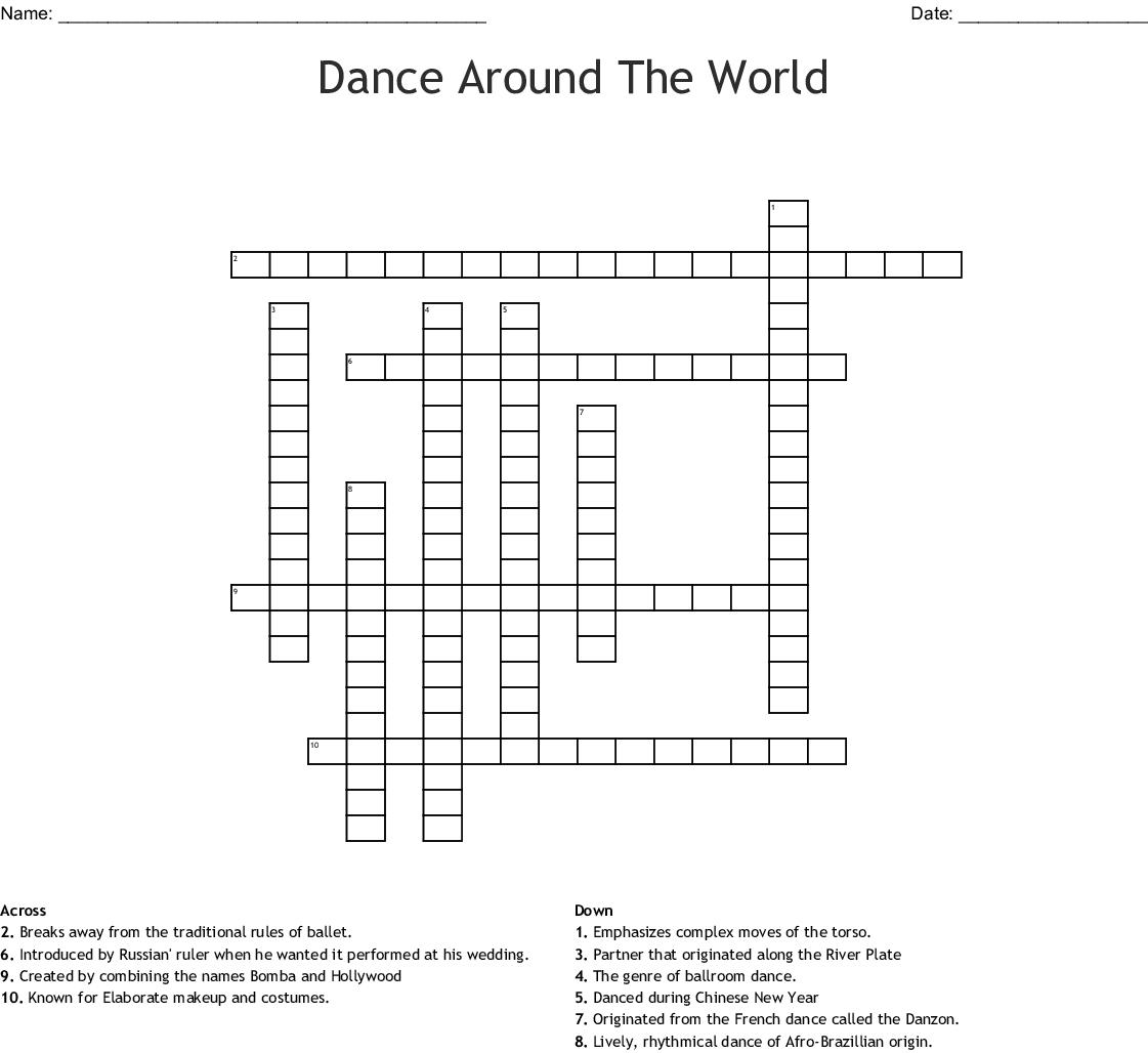 Dance Around The World Crossword Wordmint