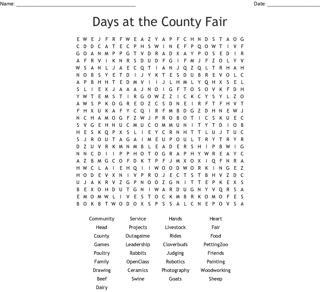 4-H Word Search - WordMint