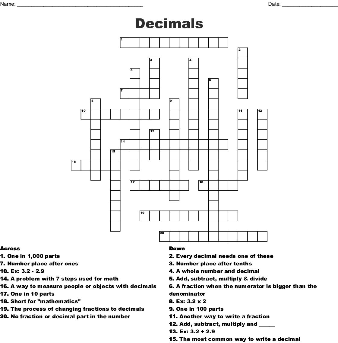 Decimals Crossword Wordmint