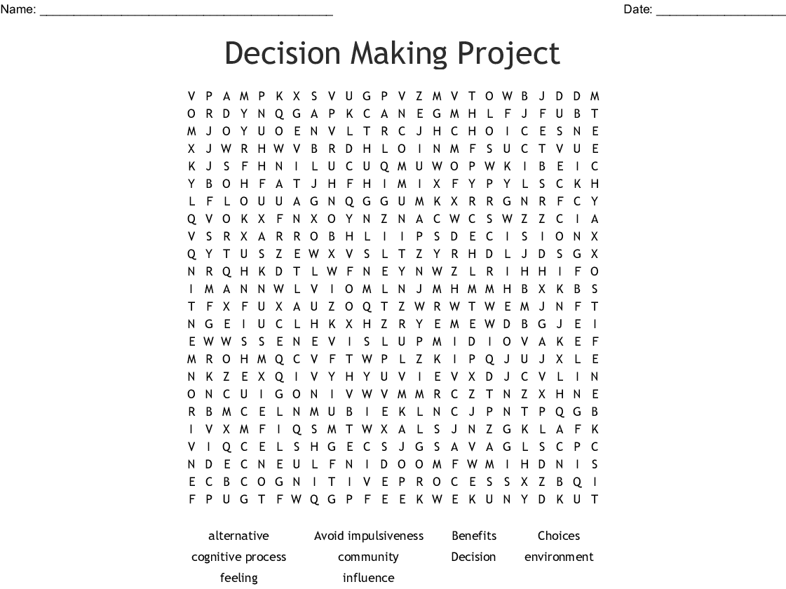 Decision Making Project Word Search Wordmint