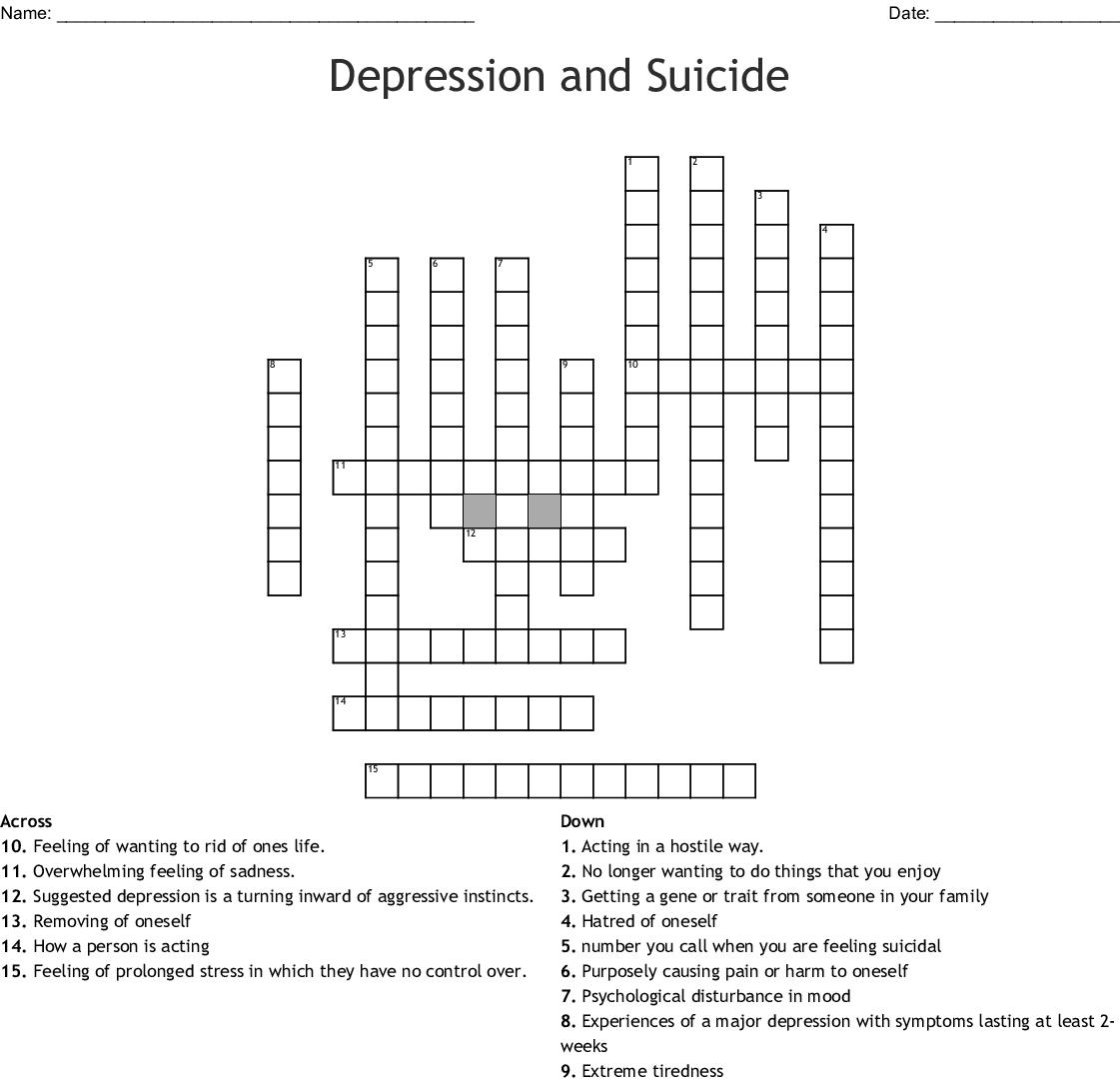 Depression And Suicide Crossword Wordmint