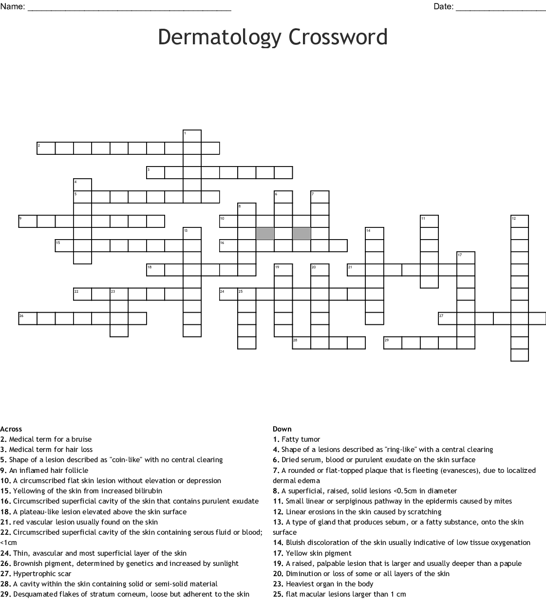 Integumentary Assessment Crossword - WordMint