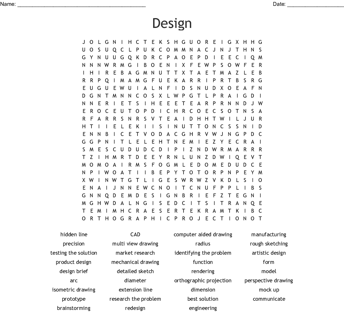 Intro to Drafting & Design Word Search - WordMint