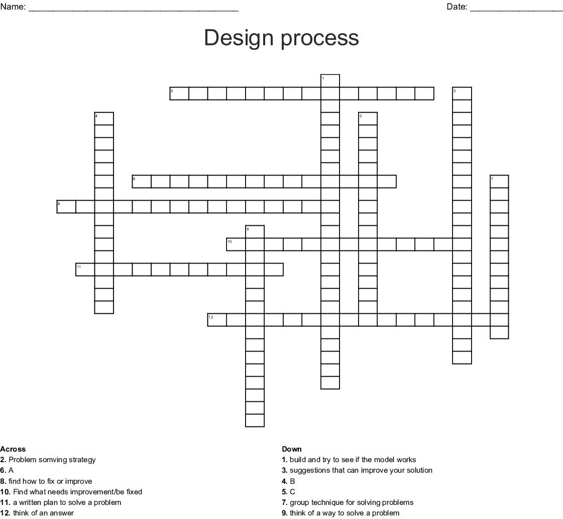 Design Process Crossword Wordmint