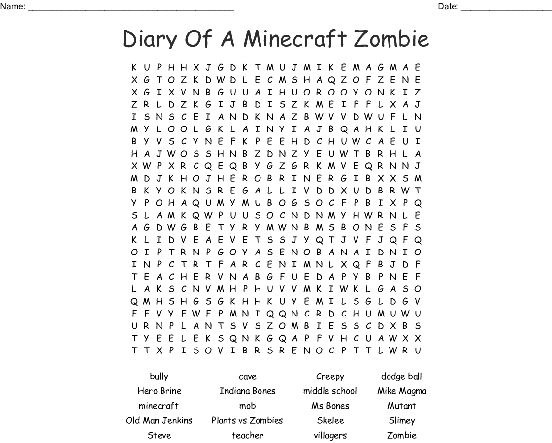 Brayden's Zack Zombie Word Search - WordMint