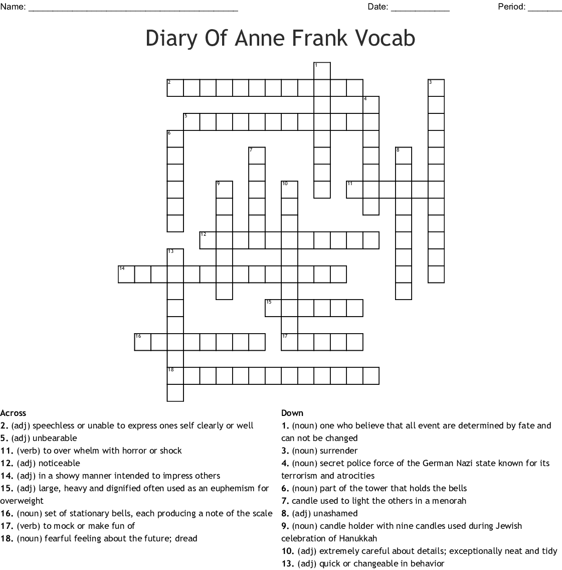 Diary of Anne Frank Crossword Puzzle - WordMint