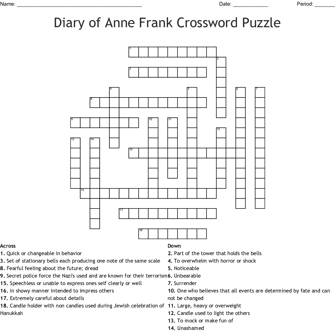 The Diary of Anne Frank Vocabulary 1 Crossword - WordMint