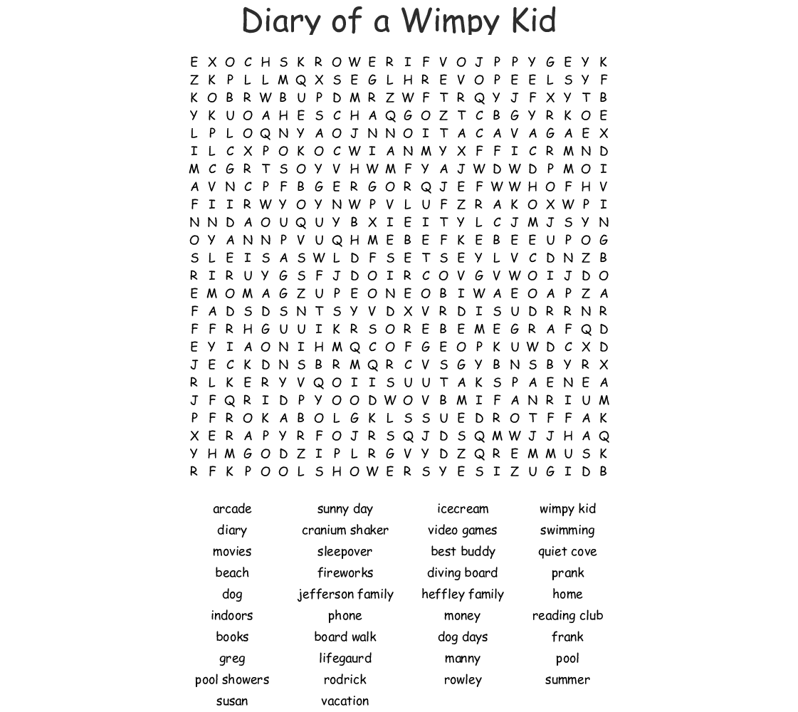 Diary Of A Wimpy Kid Rodrick Rules Word Search Wordmint