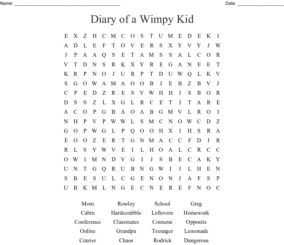 Diary Of A Wimpy Kid Word Search Wordmint