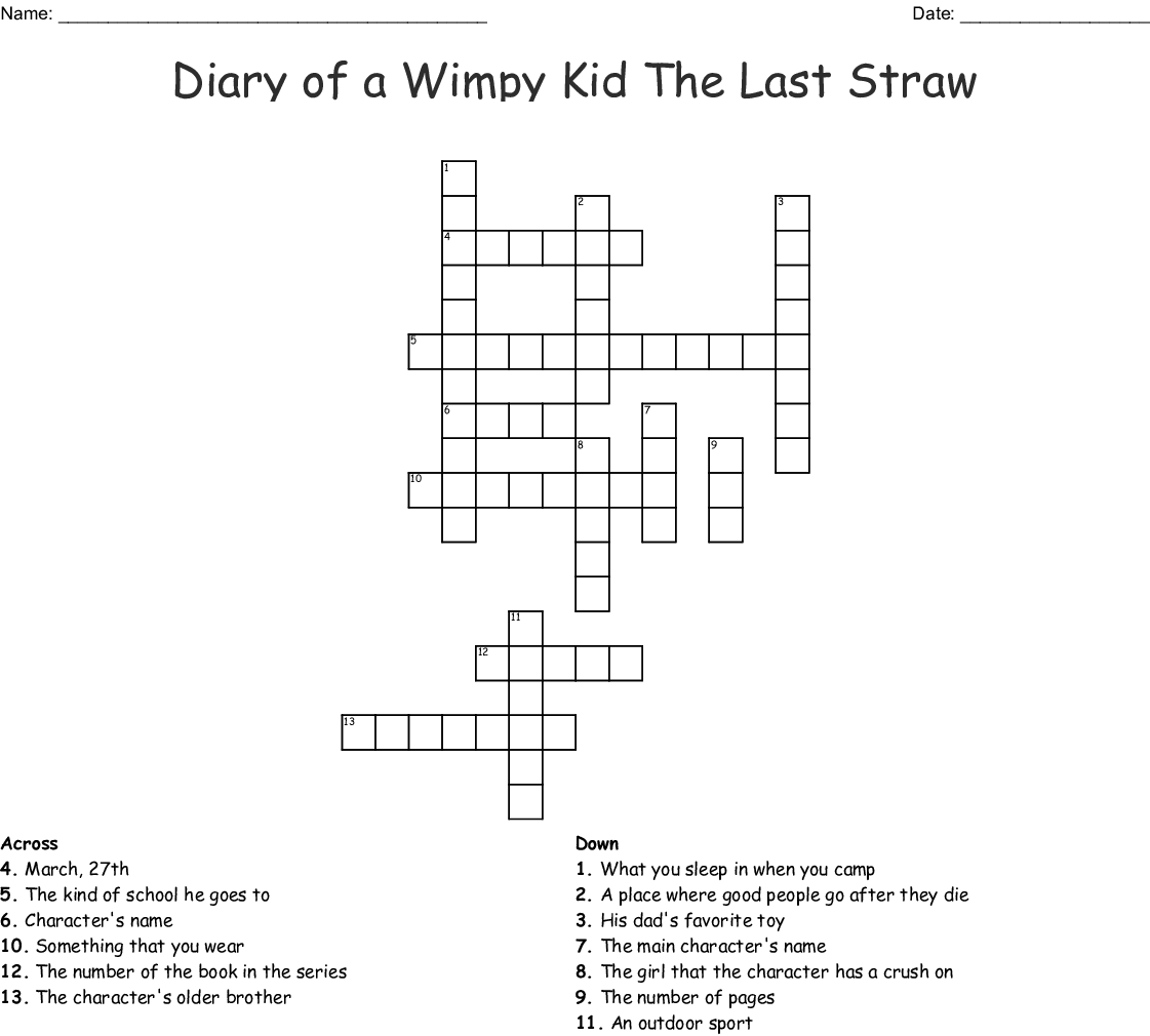 Diary Of A Wimpy Kid The Last Straw Crossword Wordmint