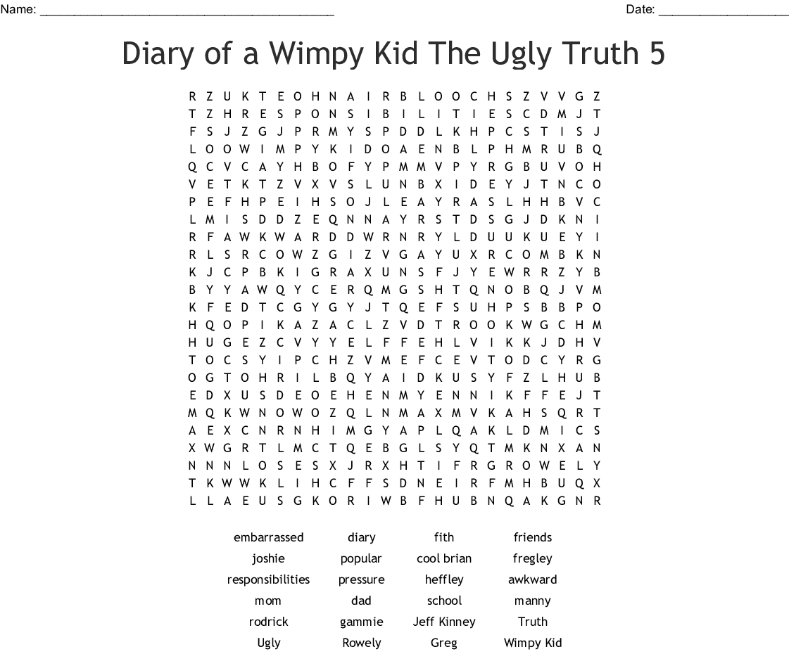 Diary Of A Wimpy Kid Rodrick Rules Crossword Wordmint