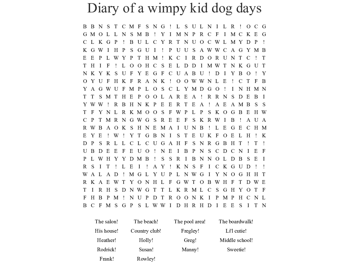Diary Of A Wimpy Kid Dog Days Word Search Wordmint