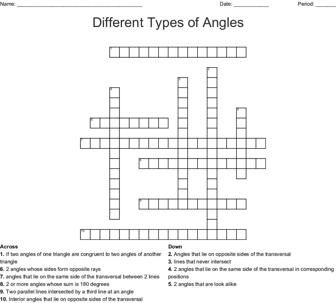 Different Types of Angles Crossword - WordMint
